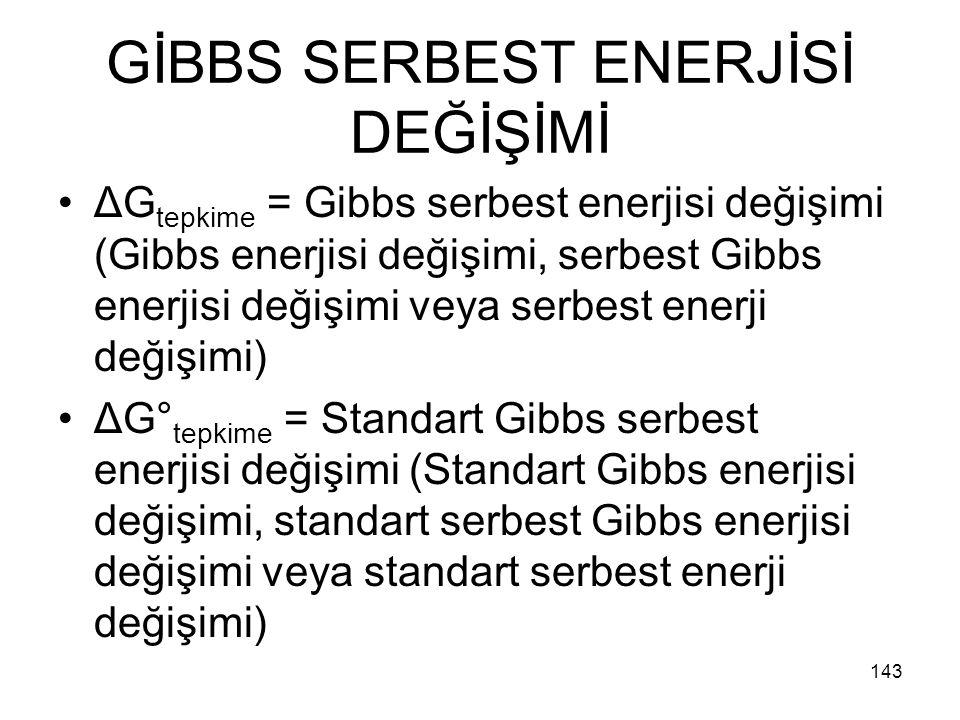 GİBBS SERBEST ENERJİSİ DEĞİŞİMİ
