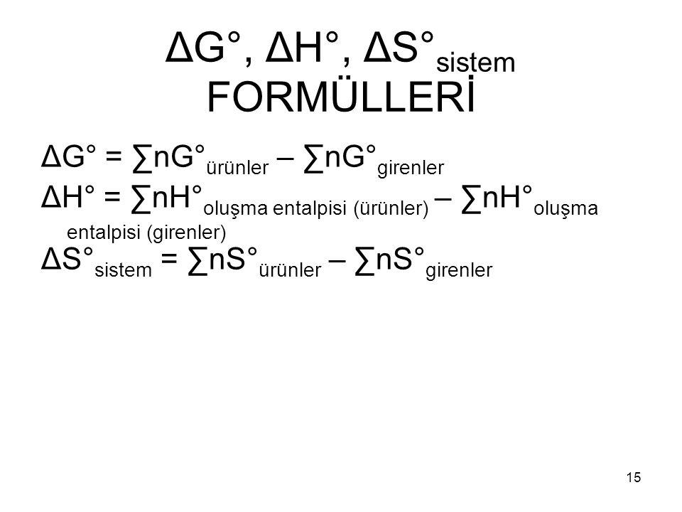ΔG°, ΔH°, ΔS°sistem FORMÜLLERİ
