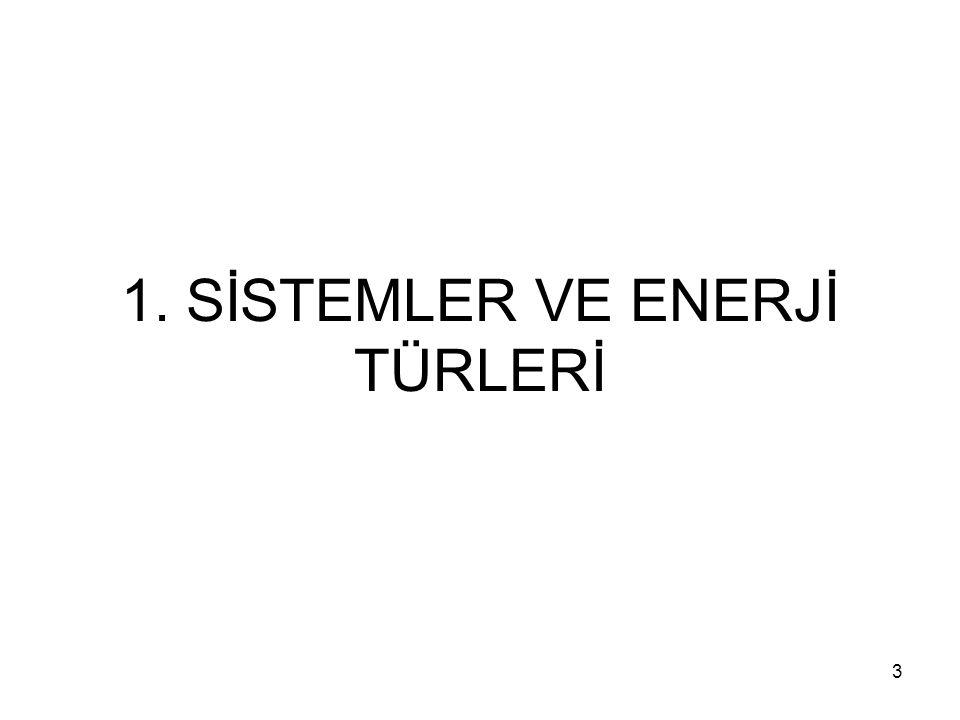 1. SİSTEMLER VE ENERJİ TÜRLERİ