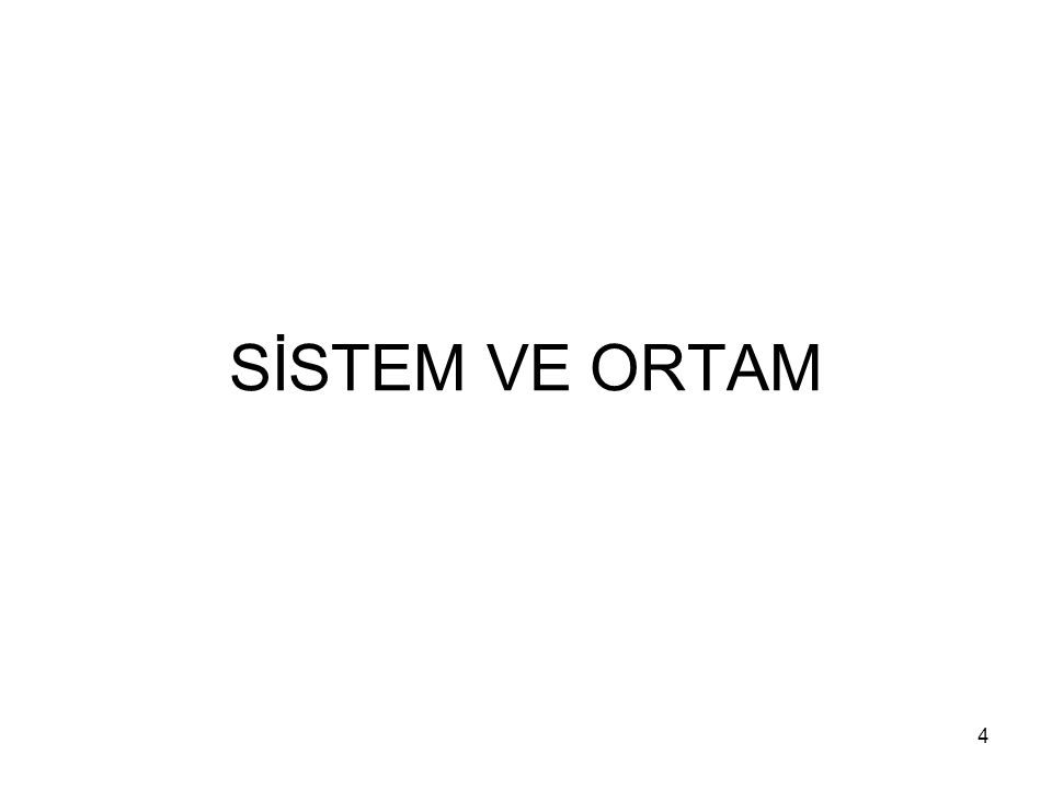 SİSTEM VE ORTAM
