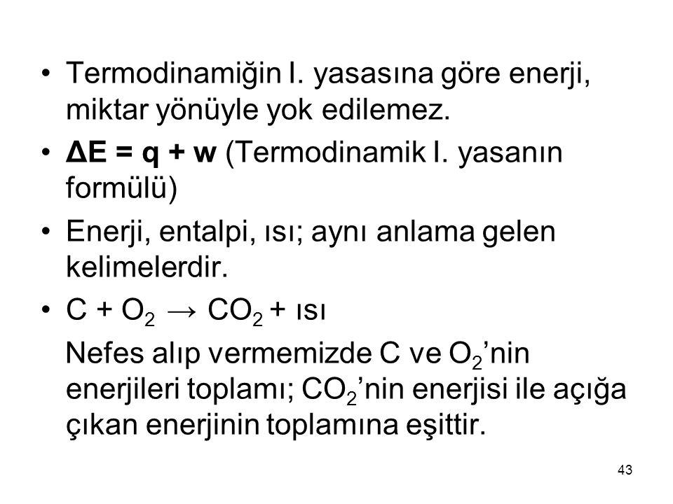 Termodinamiğin I. yasasına göre enerji, miktar yönüyle yok edilemez.