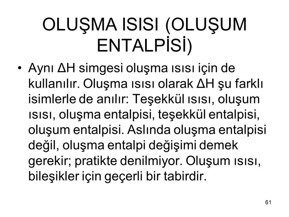 OLUŞMA ISISI (OLUŞUM ENTALPİSİ)