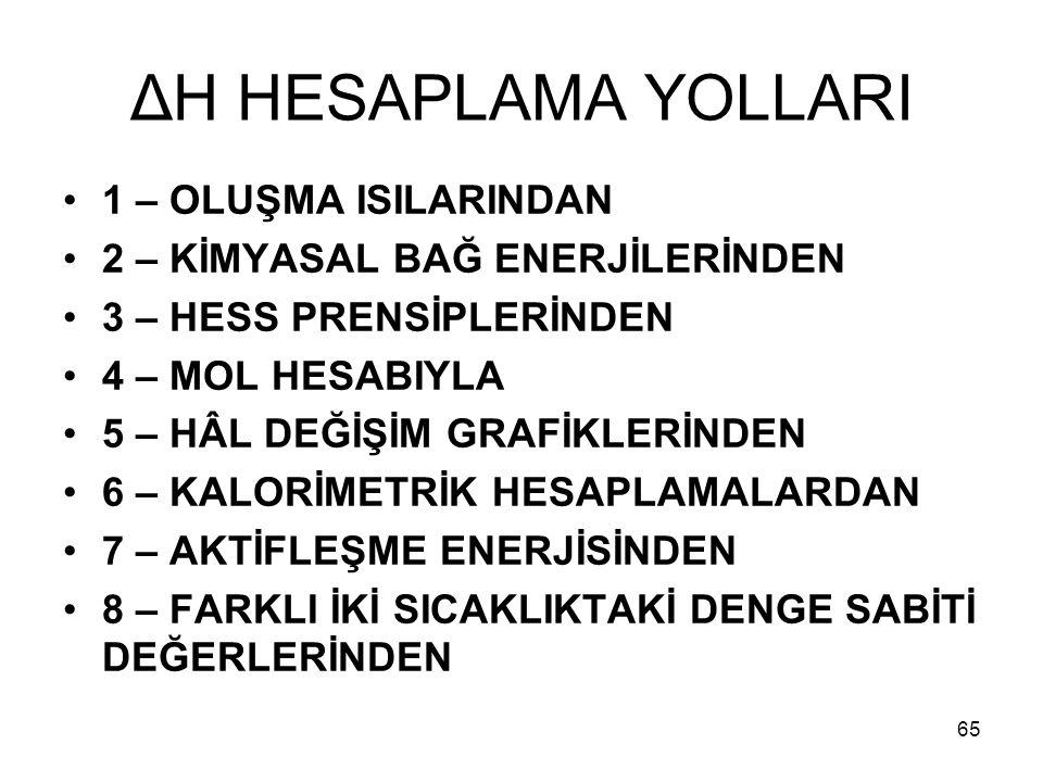 ΔH HESAPLAMA YOLLARI 1 – OLUŞMA ISILARINDAN