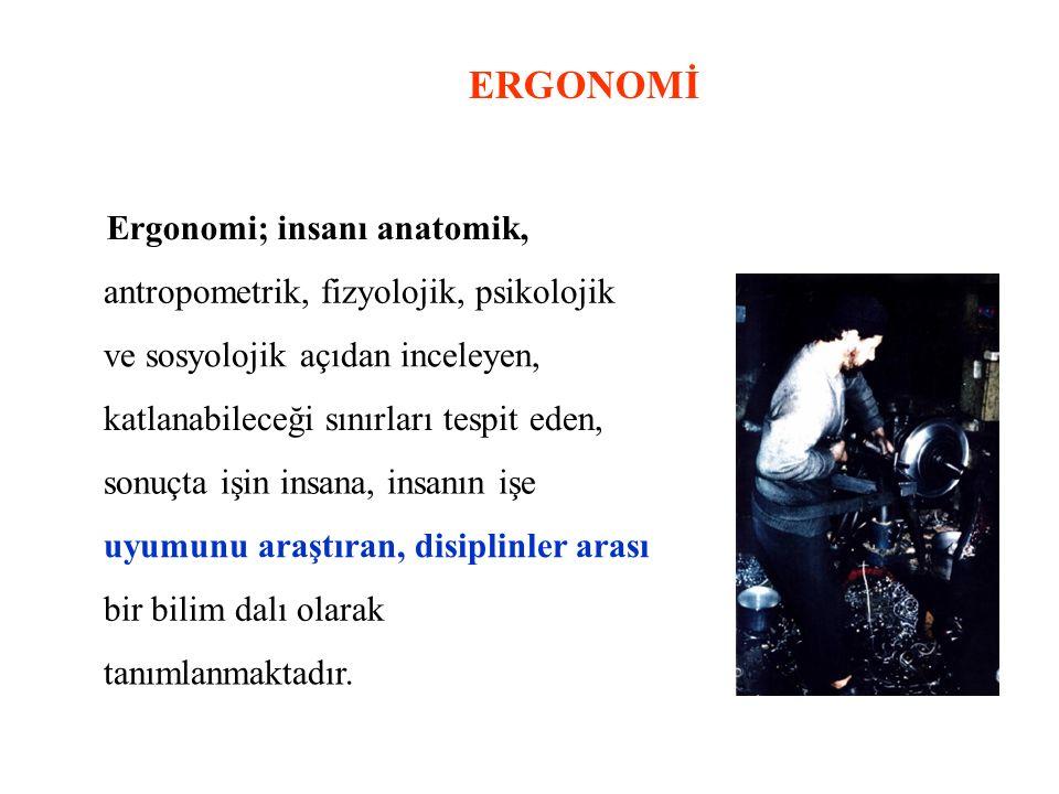 ERGONOMİ Ergonomi; insanı anatomik,