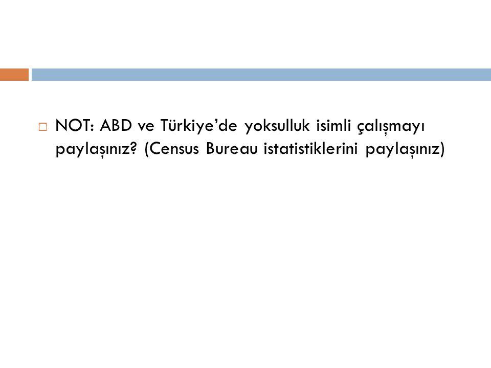 NOT: ABD ve Türkiye'de yoksulluk isimli çalışmayı paylaşınız