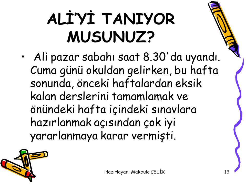 ALİ'Yİ TANIYOR MUSUNUZ