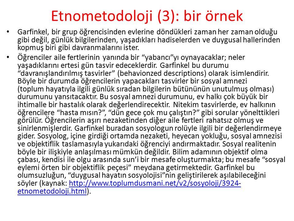 Etnometodoloji (3): bir örnek