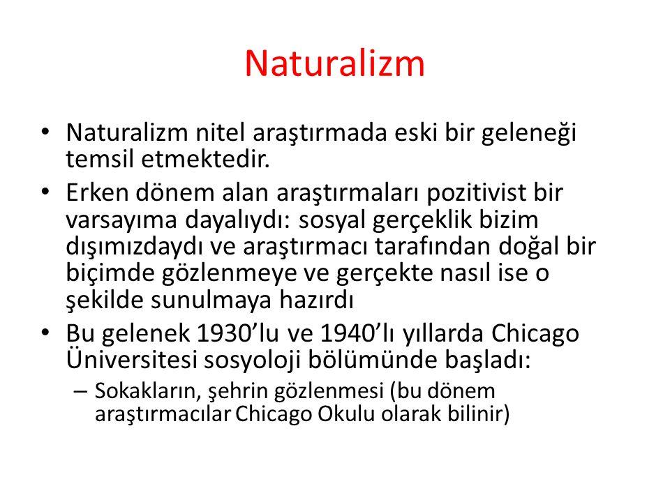 Naturalizm Naturalizm nitel araştırmada eski bir geleneği temsil etmektedir.