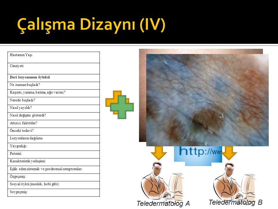Çalışma Dizaynı (IV) Teledermatolog B Teledermatolog A Hastanın Yaşı