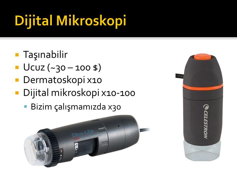 Dijital Mikroskopi Taşınabilir Ucuz (~30 – 100 $) Dermatoskopi x10