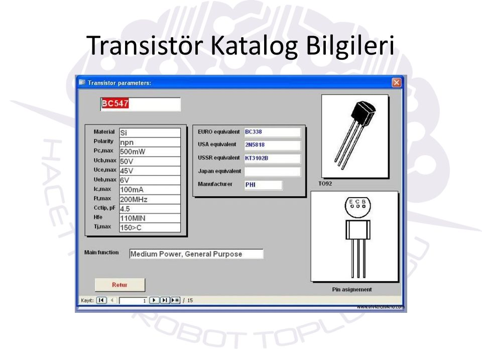 Transistör Katalog Bilgileri