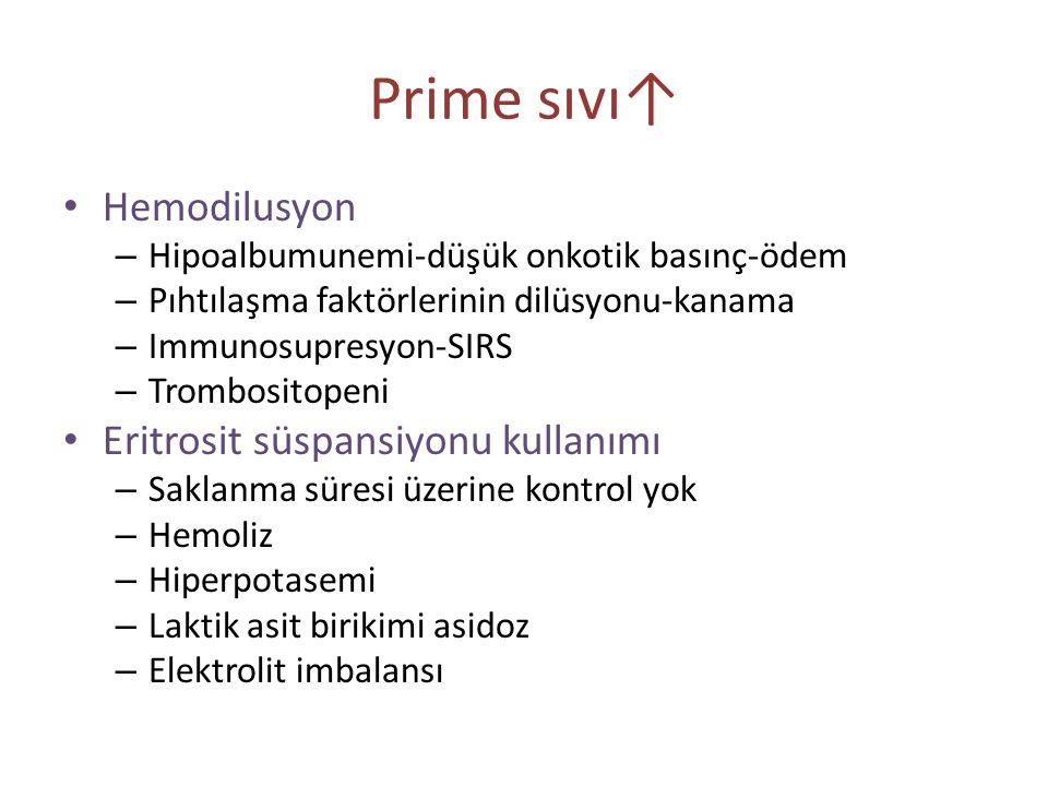 Prime sıvı↑ Hemodilusyon Eritrosit süspansiyonu kullanımı
