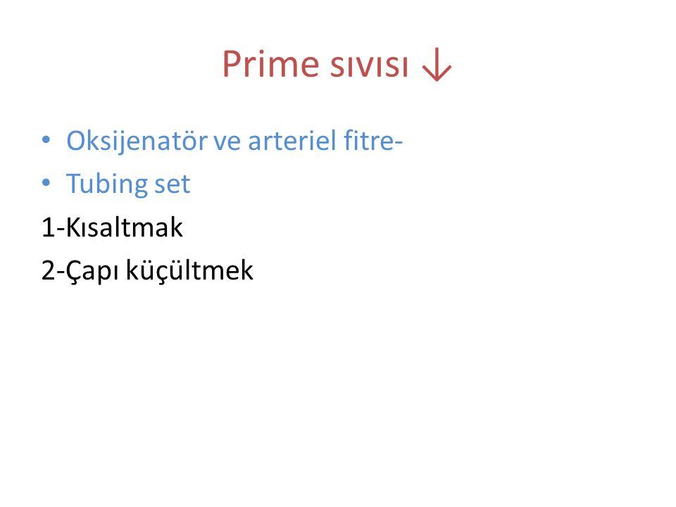 Prime sıvısı ↓ Oksijenatör ve arteriel fitre- Tubing set 1-Kısaltmak