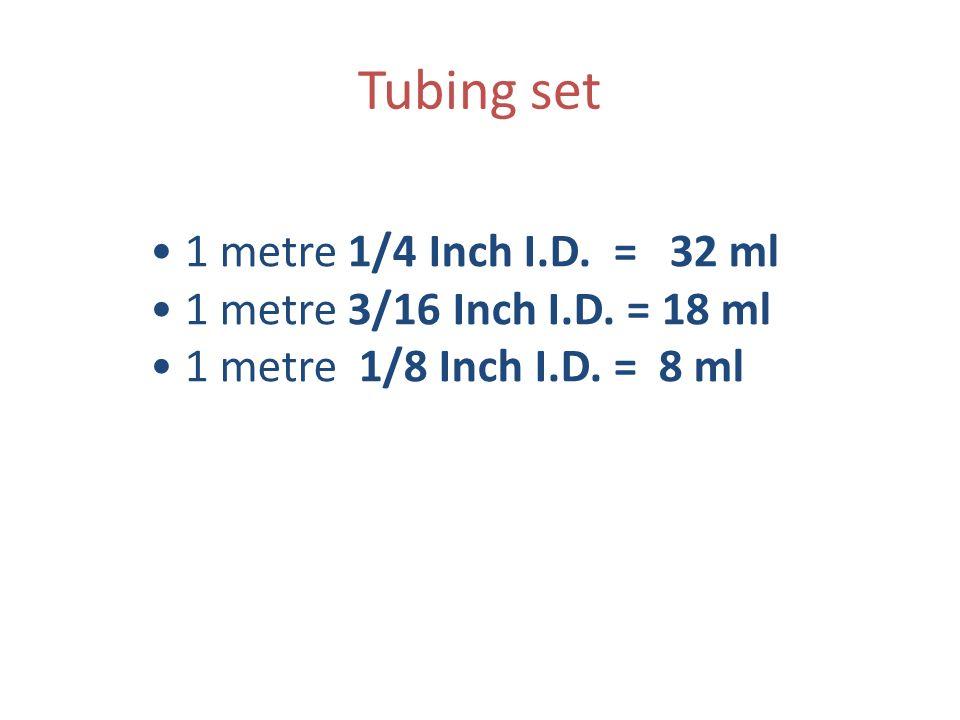 Tubing set • 1 metre 1/4 Inch I.D. = 32 ml