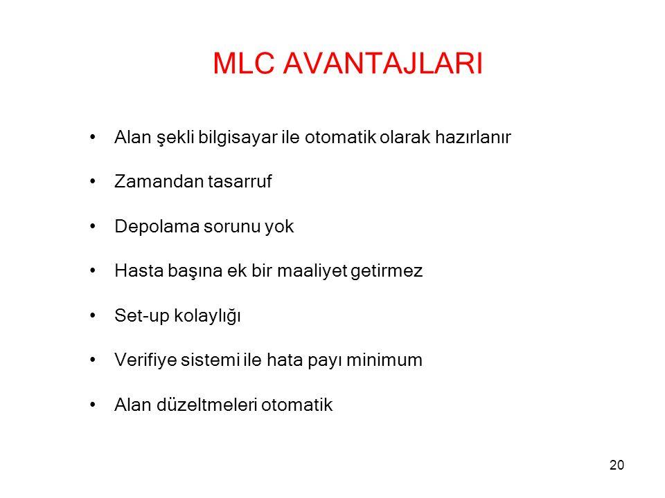 MLC AVANTAJLARI Alan şekli bilgisayar ile otomatik olarak hazırlanır