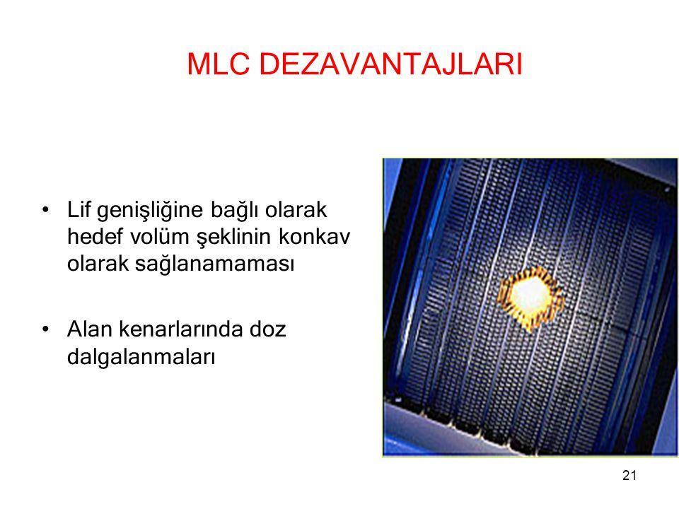 MLC DEZAVANTAJLARI Lif genişliğine bağlı olarak hedef volüm şeklinin konkav olarak sağlanamaması.