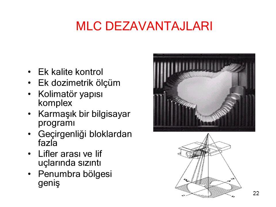 MLC DEZAVANTAJLARI Ek kalite kontrol Ek dozimetrik ölçüm