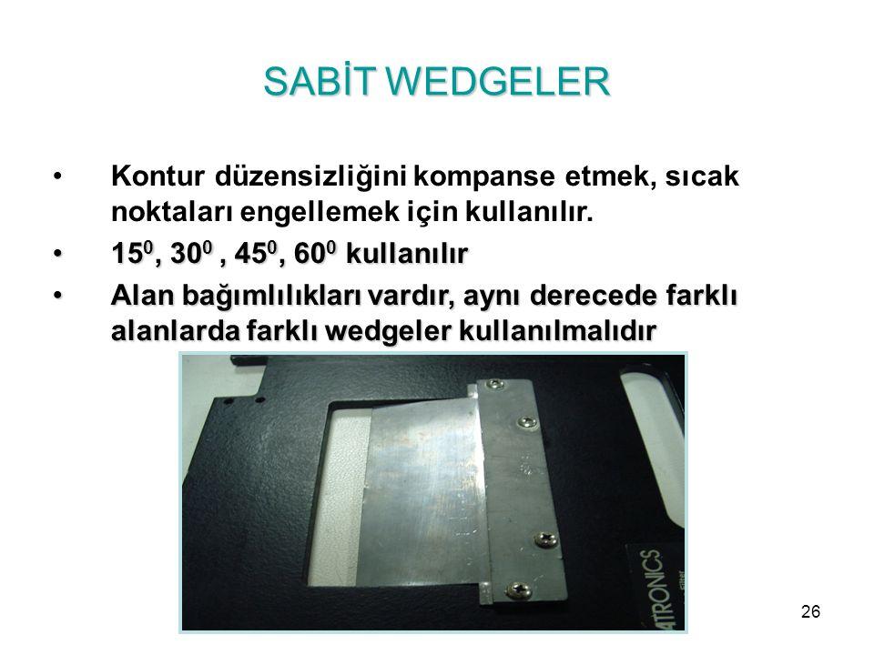 SABİT WEDGELER Kontur düzensizliğini kompanse etmek, sıcak noktaları engellemek için kullanılır. 150, 300 , 450, 600 kullanılır.