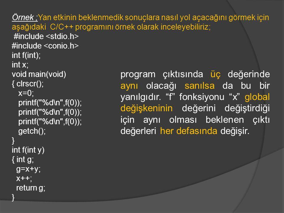 Örnek ;Yan etkinin beklenmedik sonuçlara nasıl yol açacağını görmek için aşağıdaki C/C++ programını örnek olarak inceleyebiliriz;