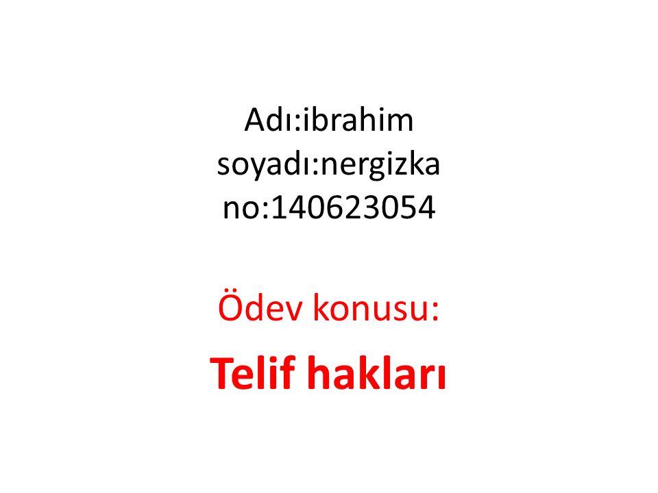 Adı:ibrahim soyadı:nergizka no:140623054