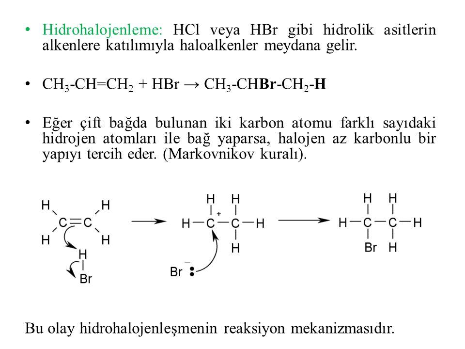 Hidrohalojenleme: HCl veya HBr gibi hidrolik asitlerin alkenlere katılımıyla haloalkenler meydana gelir.
