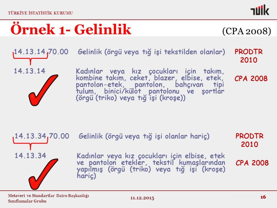 Örnek 1- Gelinlik (CPA 2008) 14.13.14.70.00 Gelinlik (örgü veya tığ işi tekstilden olanlar)