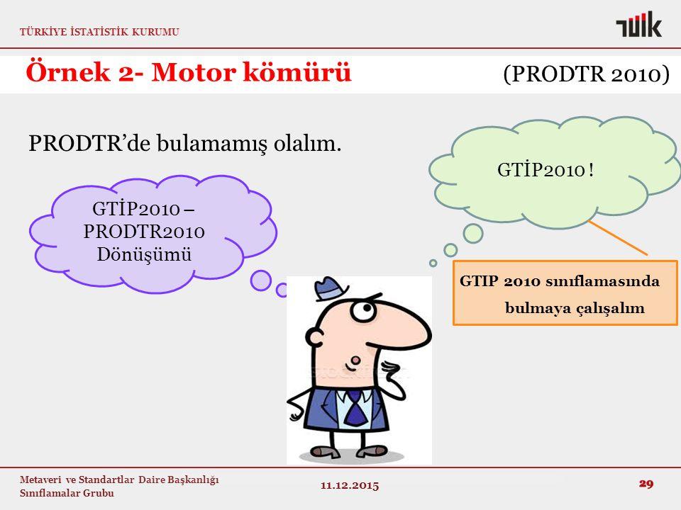 Örnek 2- Motor kömürü (PRODTR 2010) PRODTR'de bulamamış olalım.