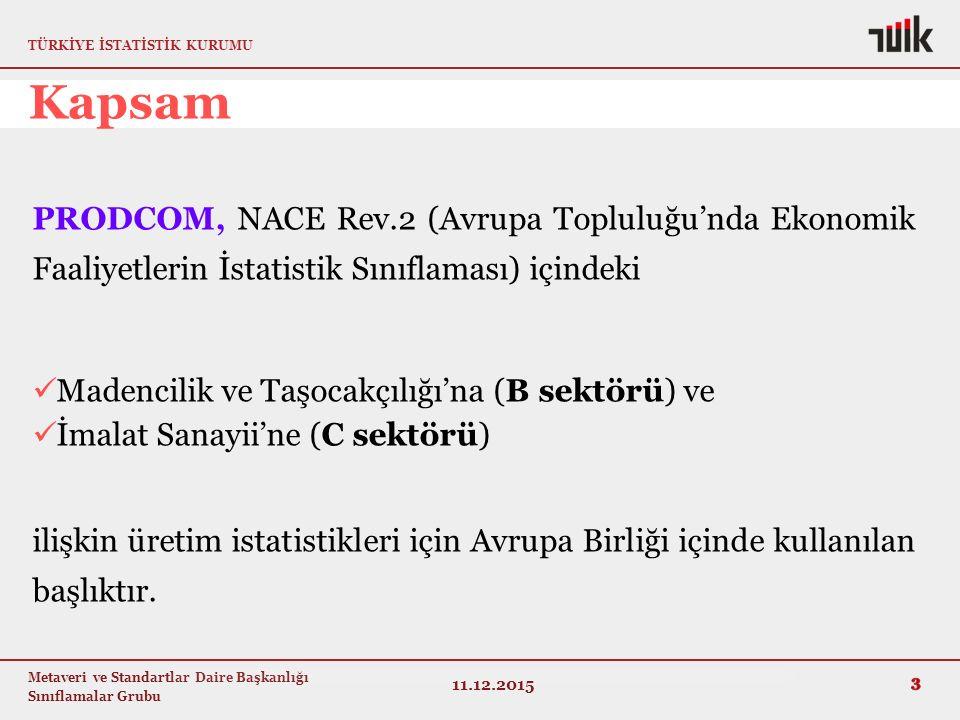 Kapsam PRODCOM, NACE Rev.2 (Avrupa Topluluğu'nda Ekonomik Faaliyetlerin İstatistik Sınıflaması) içindeki.