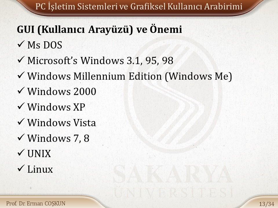 PC İşletim Sistemleri ve Grafiksel Kullanıcı Arabirimi
