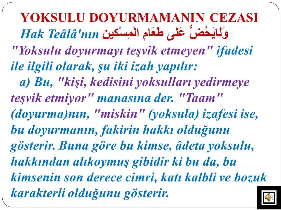 YOKSULU DOYURMAMANIN CEZASI