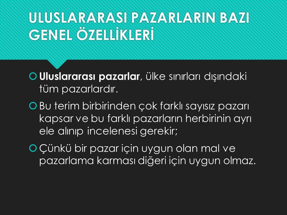 ULUSLARARASI PAZARLARIN BAZI GENEL ÖZELLİKLERİ