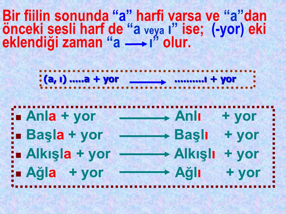 Bir fiilin sonunda a harfi varsa ve a dan önceki sesli harf de a veya ı ise; (-yor) eki eklendiği zaman a ı olur.