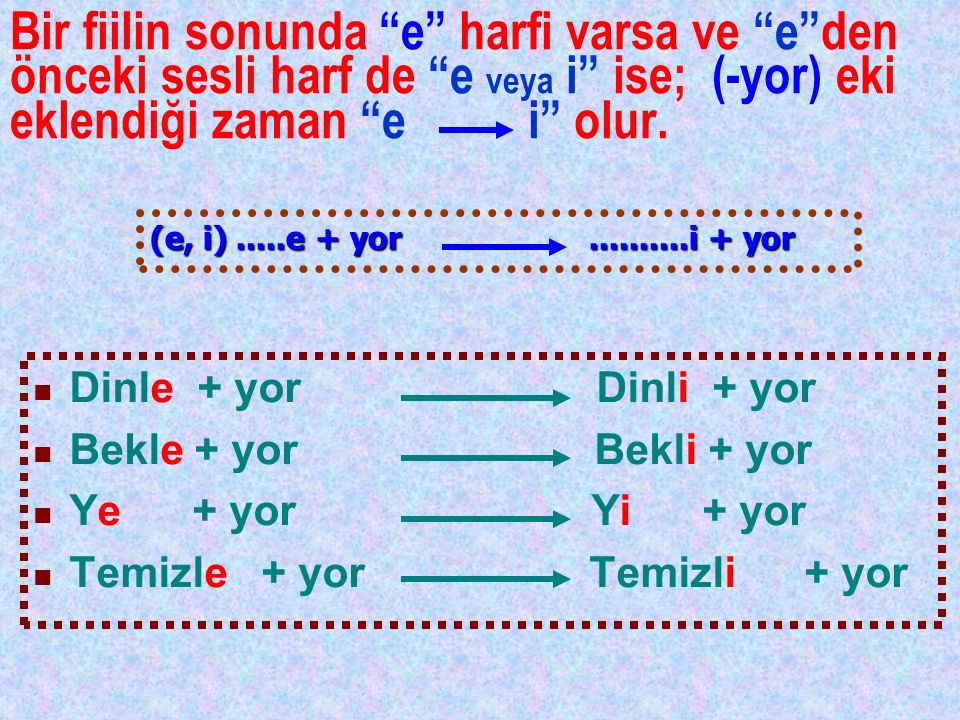 Bir fiilin sonunda e harfi varsa ve e den önceki sesli harf de e veya i ise; (-yor) eki eklendiği zaman e i olur.