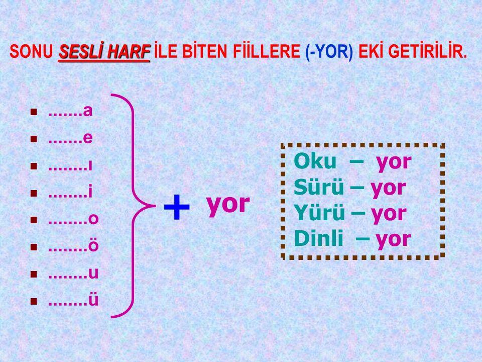 SONU SESLİ HARF İLE BİTEN FİİLLERE (-YOR) EKİ GETİRİLİR.