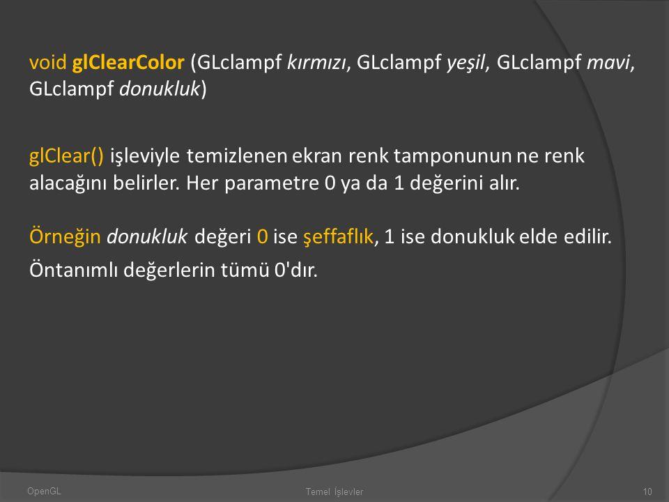 void glClearColor (GLclampf kırmızı, GLclampf yeşil, GLclampf mavi, GLclampf donukluk)