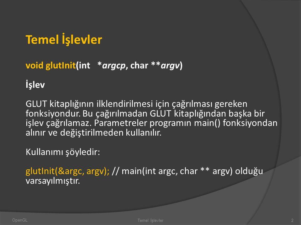 Temel İşlevler void glutInit(int *argcp, char **argv) İşlev