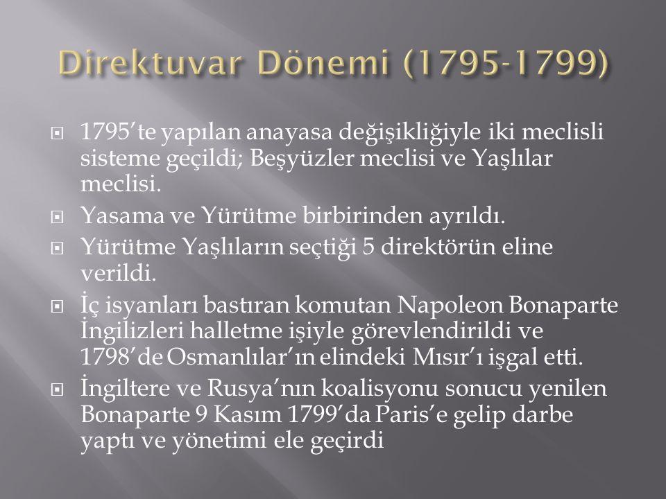 Direktuvar Dönemi (1795-1799) 1795'te yapılan anayasa değişikliğiyle iki meclisli sisteme geçildi; Beşyüzler meclisi ve Yaşlılar meclisi.