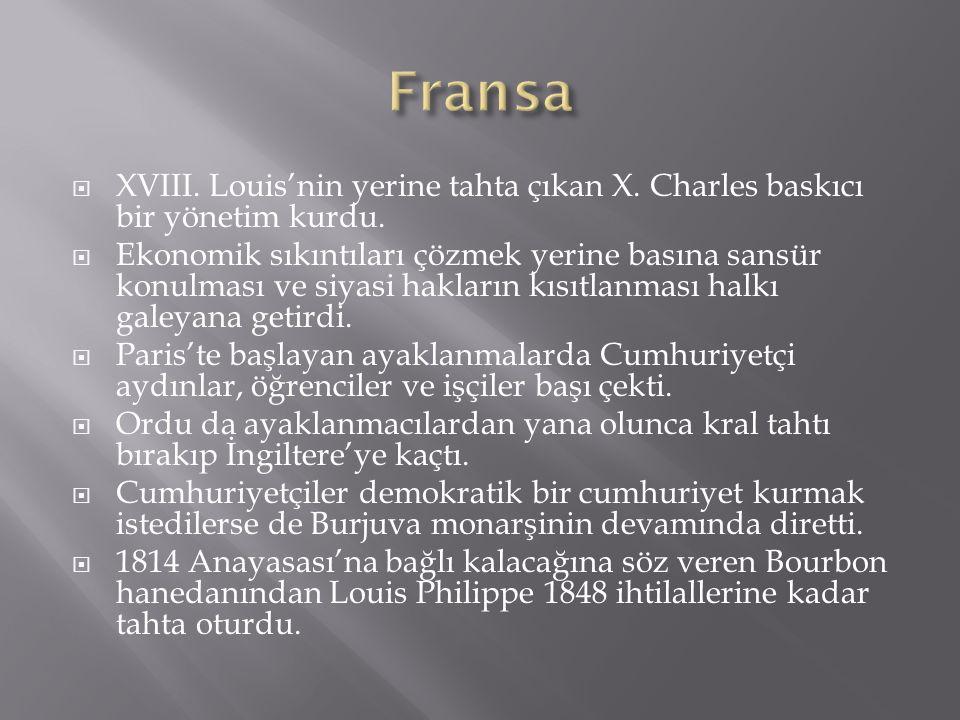 Fransa XVIII. Louis'nin yerine tahta çıkan X. Charles baskıcı bir yönetim kurdu.