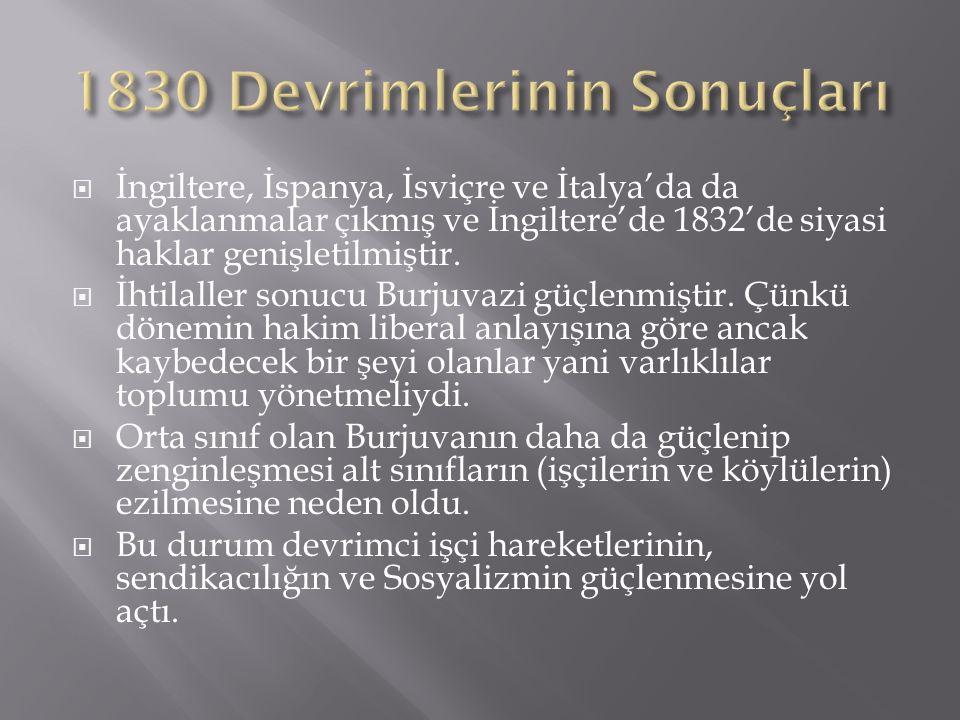 1830 Devrimlerinin Sonuçları