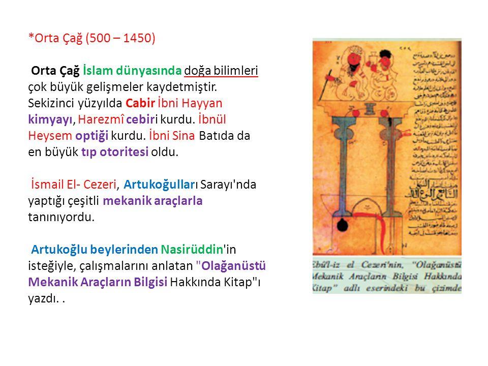 *Orta Çağ (500 – 1450) Orta Çağ İslam dünyasında doğa bilimleri çok büyük gelişmeler kaydetmiştir.