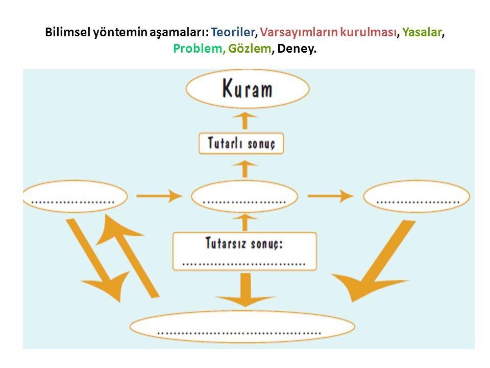 Bilimsel yöntemin aşamaları: Teoriler, Varsayımların kurulması, Yasalar, Problem, Gözlem, Deney.