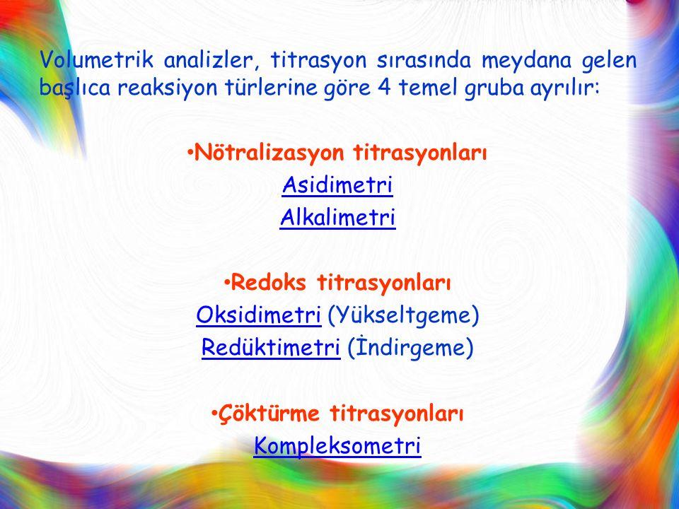 Nötralizasyon titrasyonları Asidimetri Alkalimetri