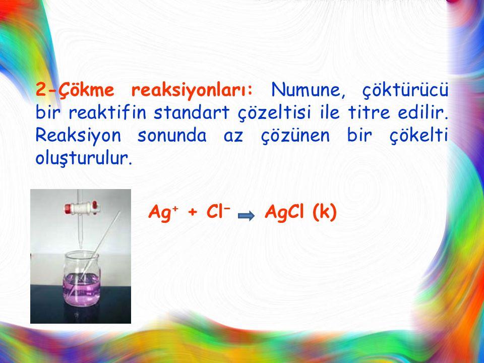 2-Çökme reaksiyonları: Numune, çöktürücü bir reaktifin standart çözeltisi ile titre edilir.