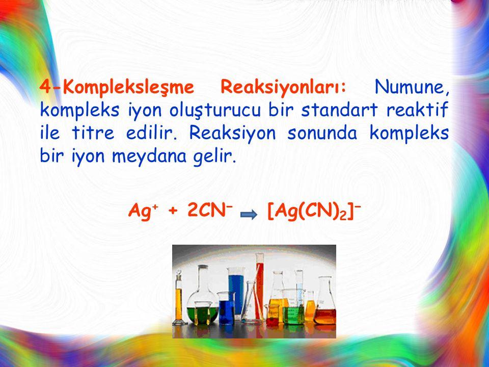 4-Kompleksleşme Reaksiyonları: Numune, kompleks iyon oluşturucu bir standart reaktif ile titre edilir.