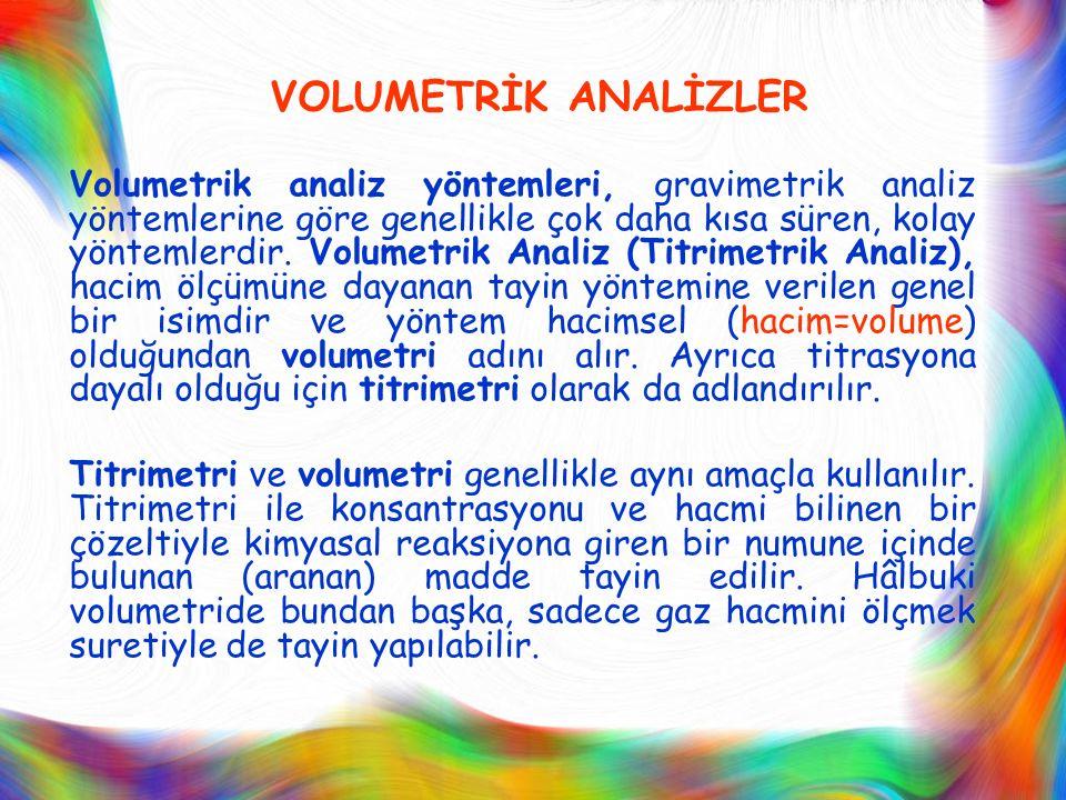 VOLUMETRİK ANALİZLER