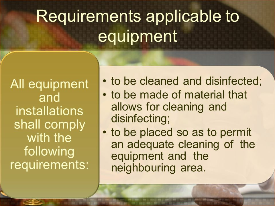 Requirements applicable to equipment