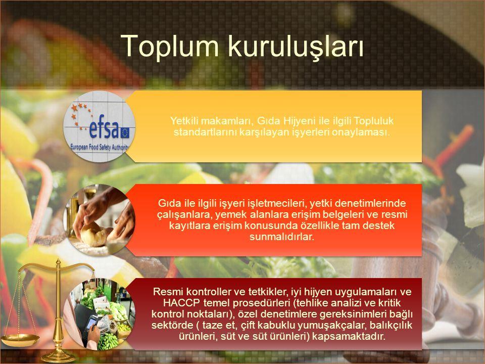 Toplum kuruluşları Yetkili makamları, Gıda Hijyeni ile ilgili Topluluk standartlarını karşılayan işyerleri onaylaması.