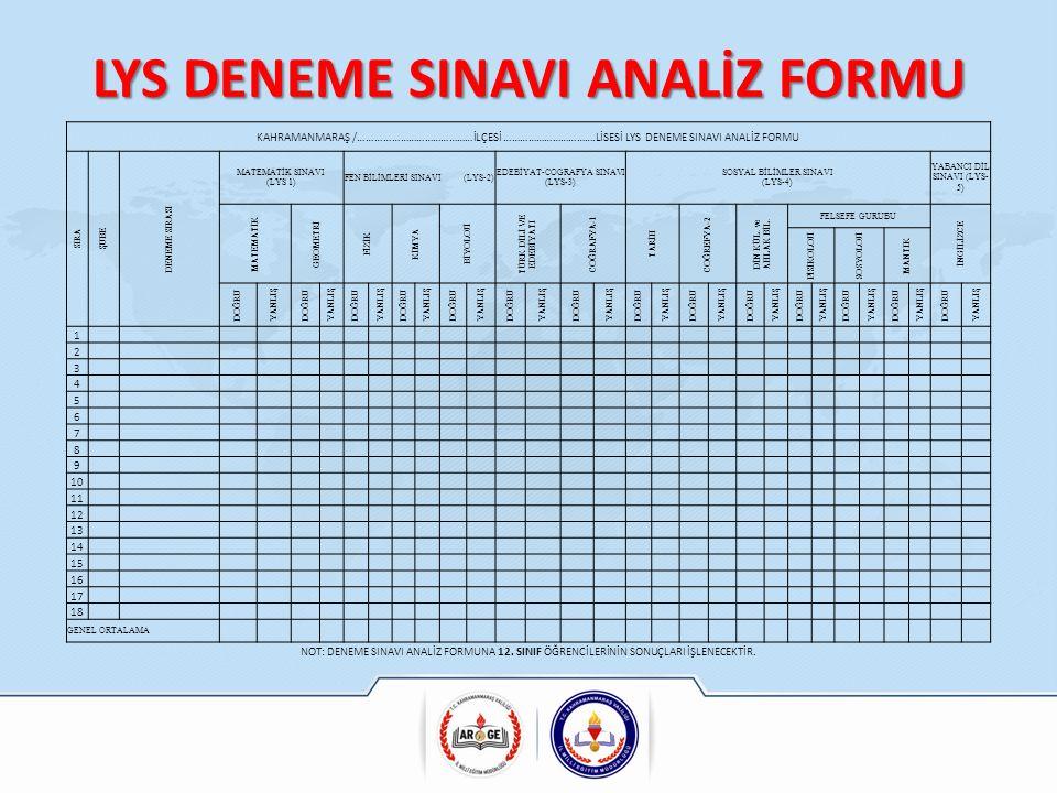 LYS DENEME SINAVI ANALİZ FORMU