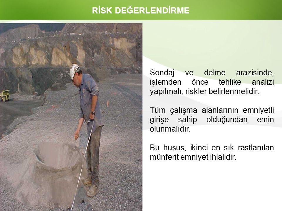RİSK DEĞERLENDİRME Sondaj ve delme arazisinde, işlemden önce tehlike analizi yapılmalı, riskler belirlenmelidir.