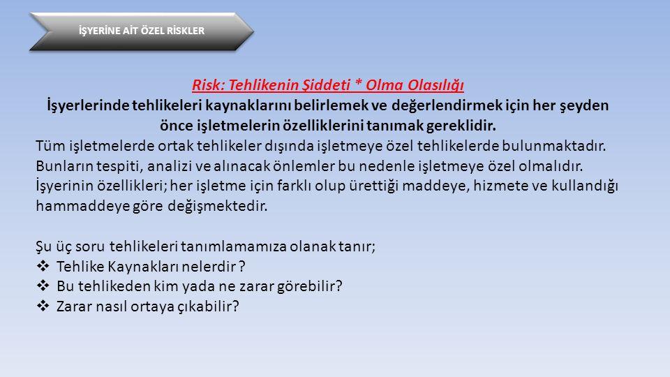 İŞYERİNE AİT ÖZEL RİSKLER